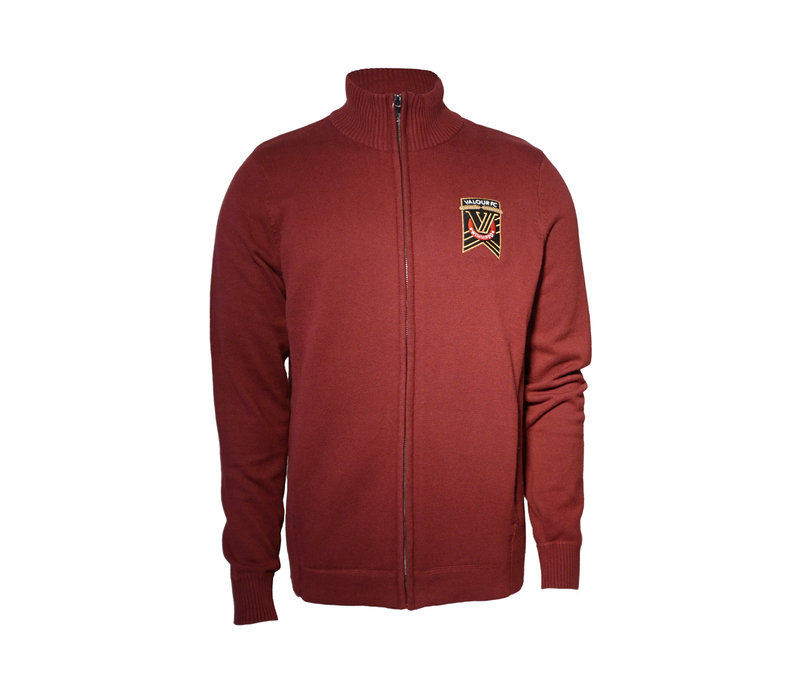 Lockhart Full Zip Maroon Sweater