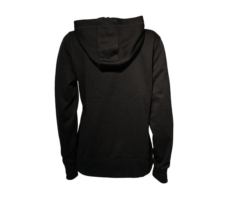Women's Fleece Full Zip Black Crest Hoodie