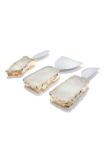 crystal gold cheese set