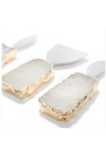 KIVA crystal/gold cheese set