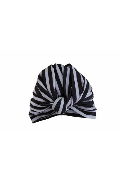 dahlia monochrom stripe shower turban