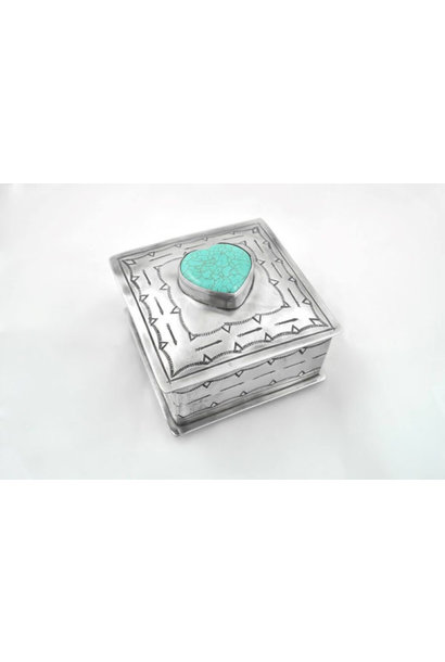 small stamped box with turquoise heart
