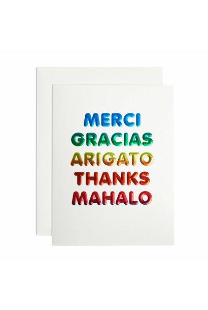merci gracias thank you card