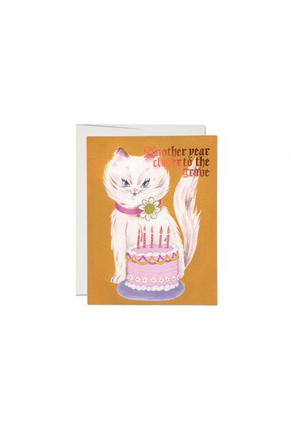 kitty and cake foil birthday card