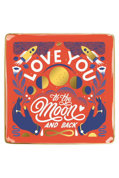 love you to the moon and back porcelain tray