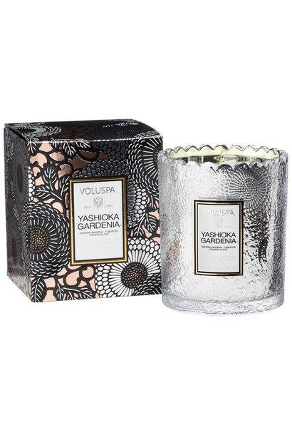 yoshioka gardenia boxed scalloped edge candle