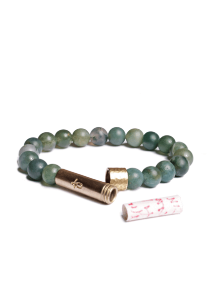 matte grass agate shine wishbeads bracelet
