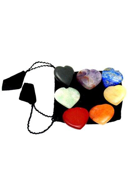 set of 7 chakra hearts