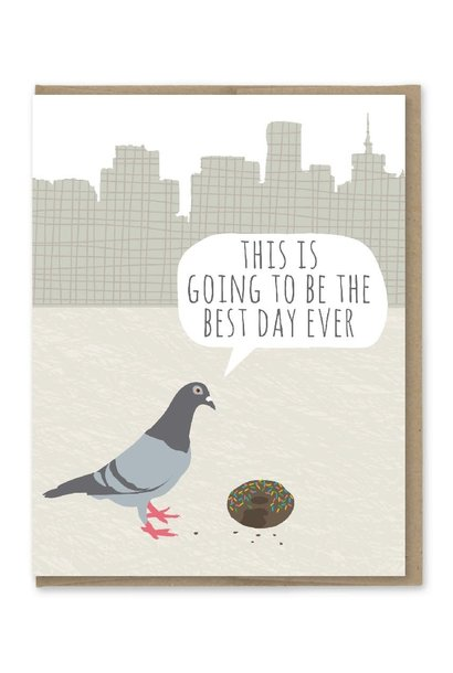 pigeon donut birthday card