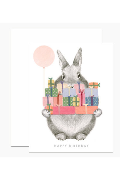 bunny holding gifts card