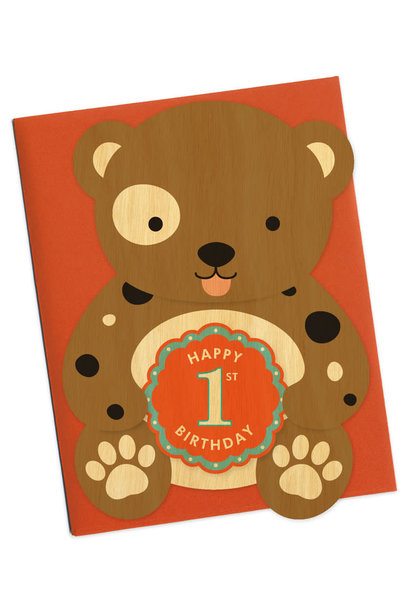First Birthday Die-Cut Bear card