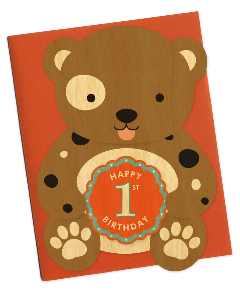 First Birthday Die-Cut Bear card-1