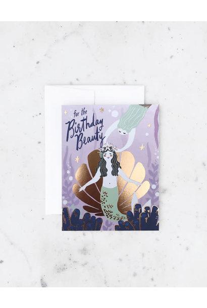 mermaid party birthday card