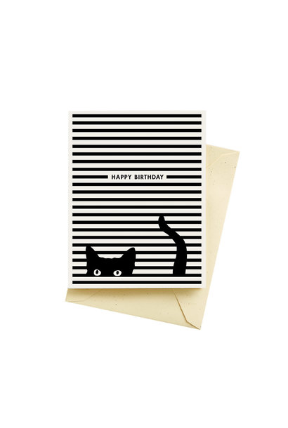 cat stripes birthday card