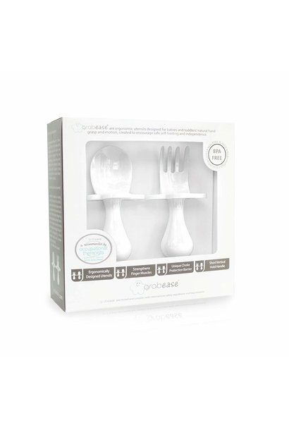 fork and spoon set in white