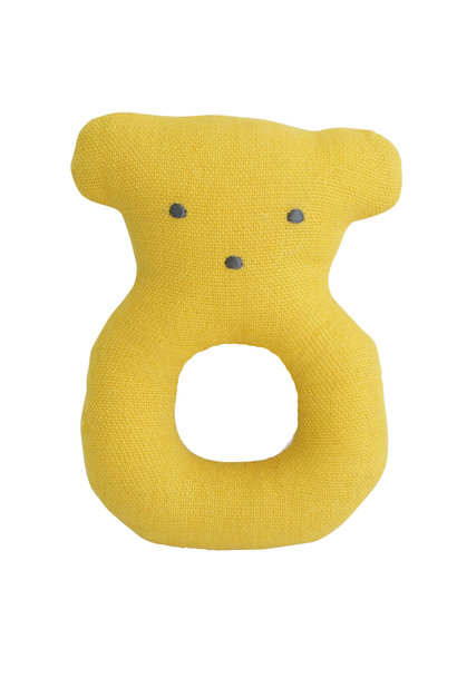 linen bear rattle butterscotch