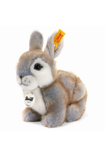 happy grey rabbit steiff stuffed animal