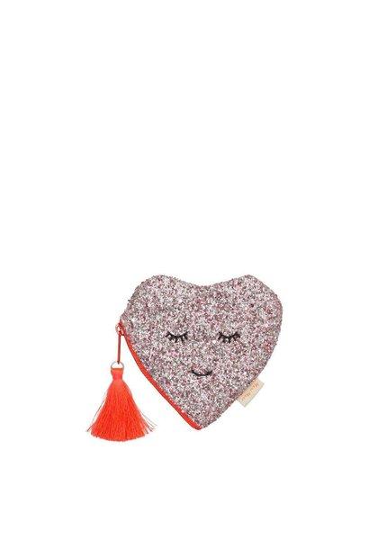 glitter heart coin purse