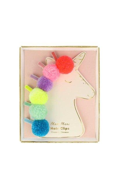pompom unicorn hair clips