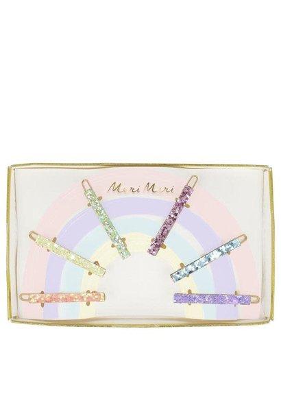 glitter rainbow hair clips