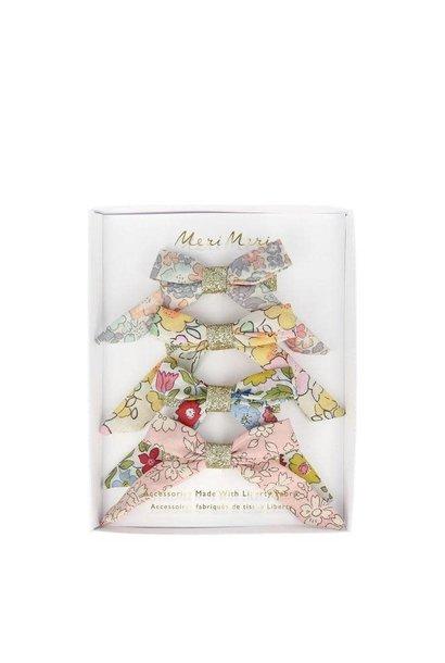 floral bow hair clips