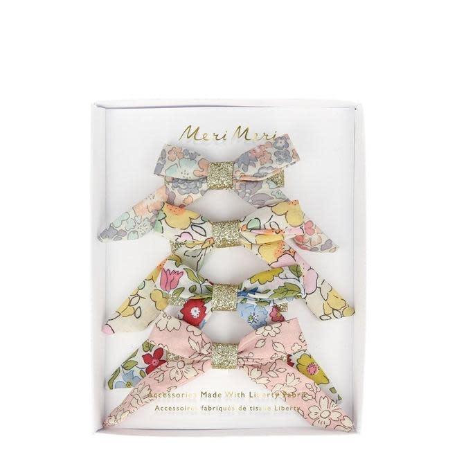 floral bow hair clips-1