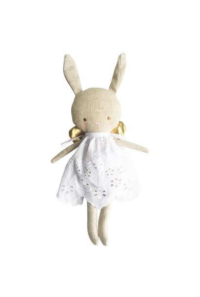 linen baby angel bunny doll - silver