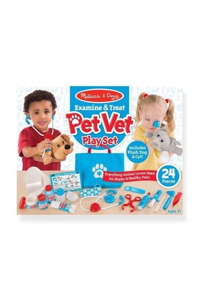examine + treat pet vet play set