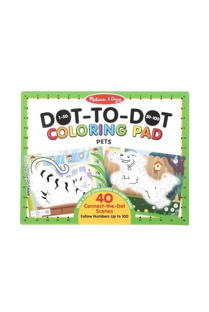 123 pets dot-to-dot coloring pad