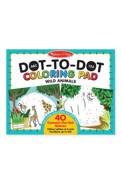abc-123 wild animal dot-to-dot coloring pad