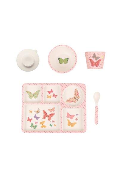 butterflies divided plate set
