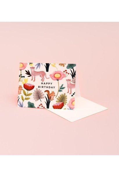 animal kingdom cream birthday card