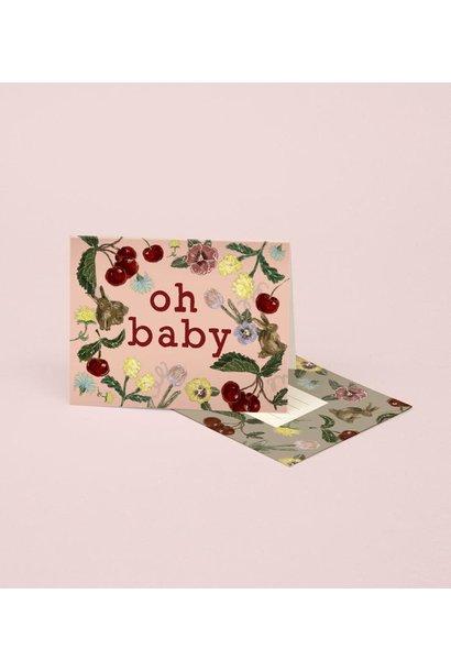 bunny + cherry baby card