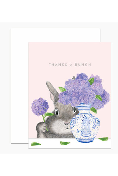 thanks a bunch bunny arranging lilacs card
