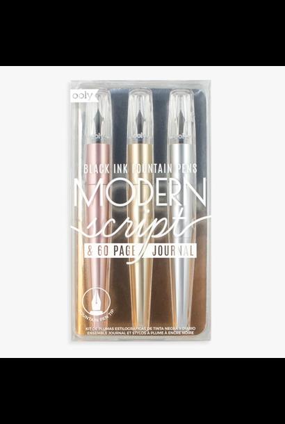 Modern Script Fountain Pens & Journal - 4 Piece Set