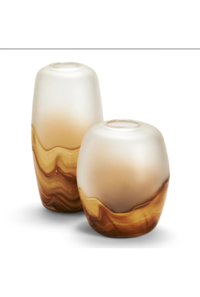 amber quartz 2 tone vase large