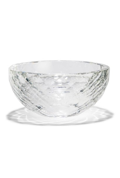 faceted crystal clear bowl