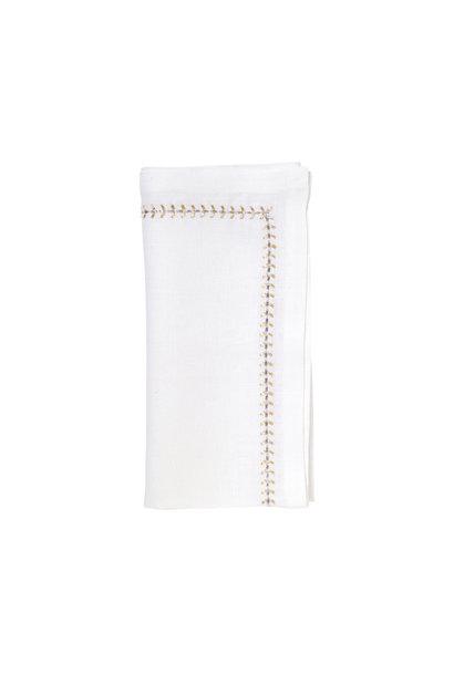 herringbone napkin white gold & silver s4