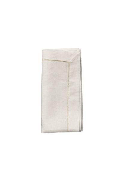 hemstitch napkin white & gold s4