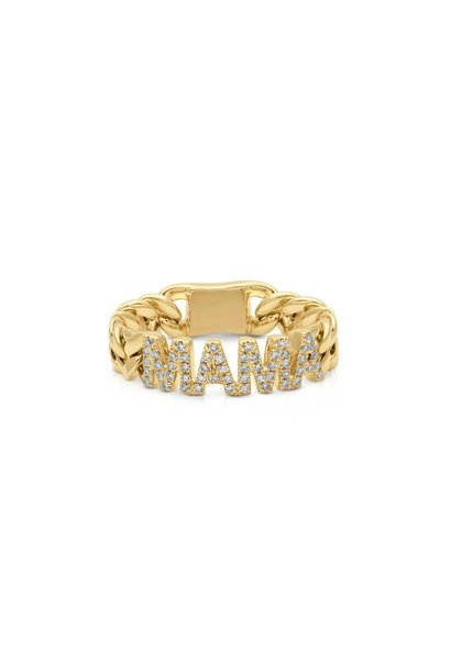 14KT yellow gold diamond mama chain link ring