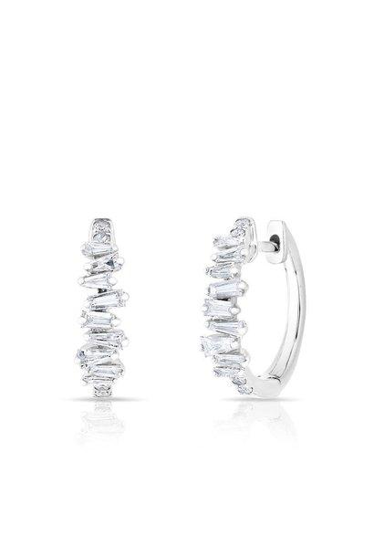 14KT white gold baguette diamond kate huggie earrings