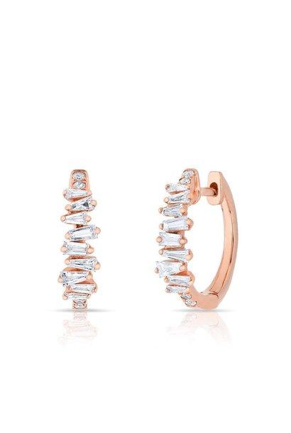 14KT rose gold baguette diamond kate huggie earrings