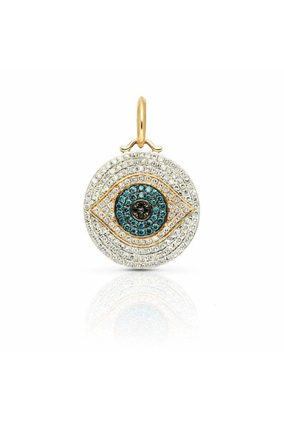 14KT yellow gold diamond sapphire evil eye charm pendant