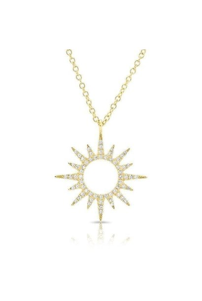 14KT yellow gold diamond open mini sunburst necklace