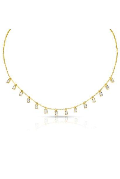14kt yellow gold baguette diamond lorelei necklace