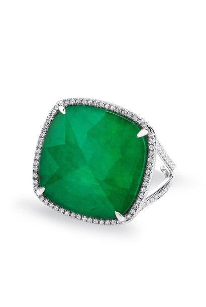 14KT white gold emerald diamond triplet cushion ut luxe cocktail ring