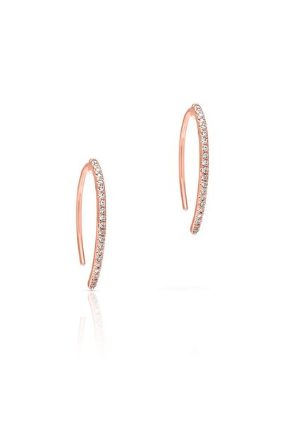 14KT rose gold diamond lash wishbone earrings