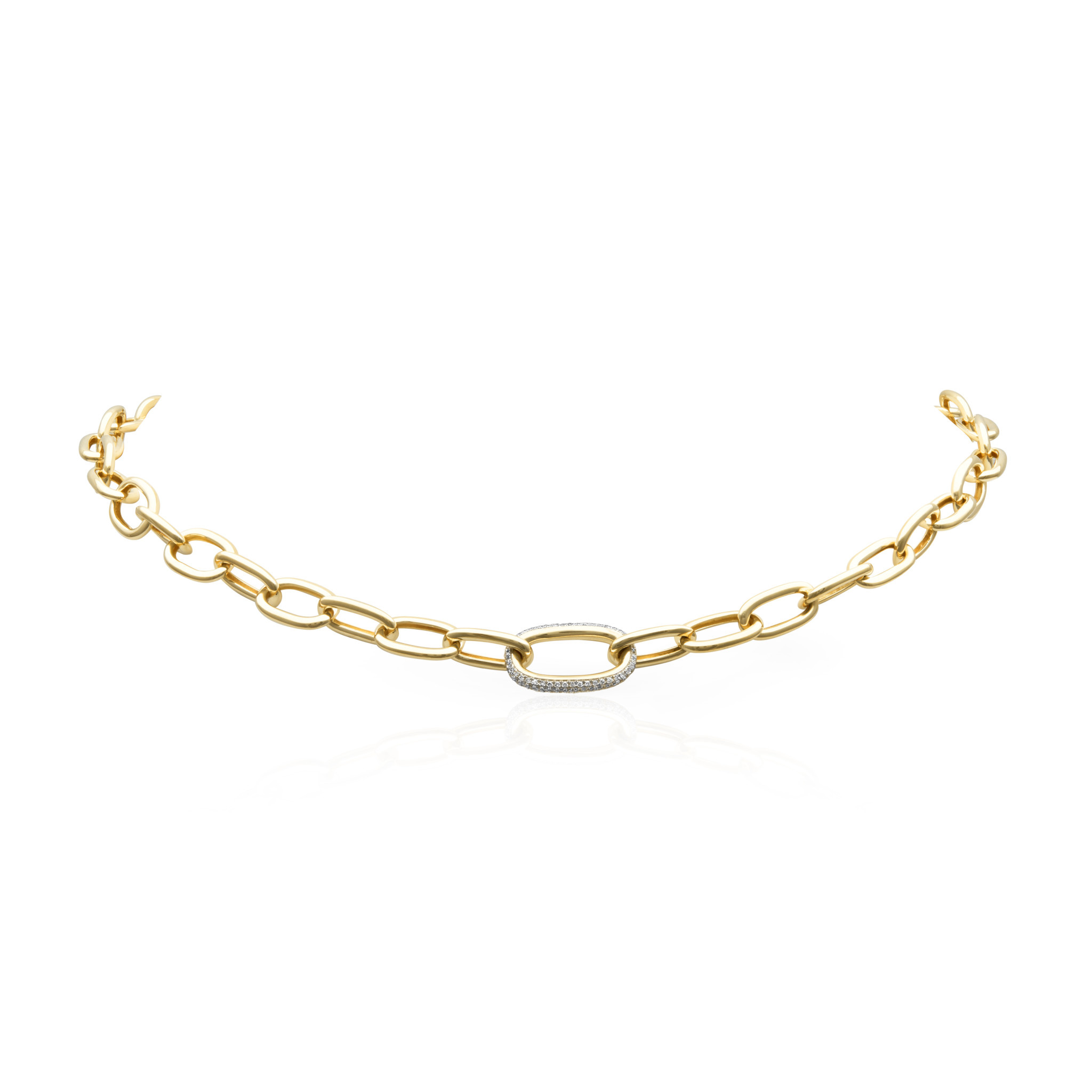 14KT yellow gold diamond janesse chain link necklace-1