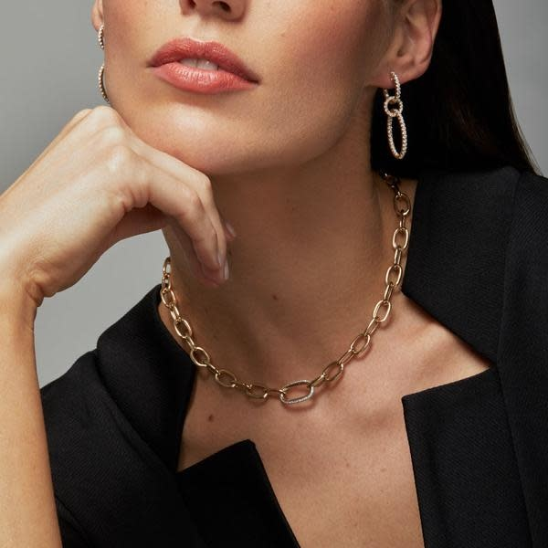 14KT yellow gold diamond janesse chain link necklace-2