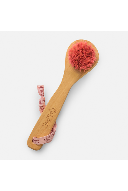 pink bamboo exfoliating face brush